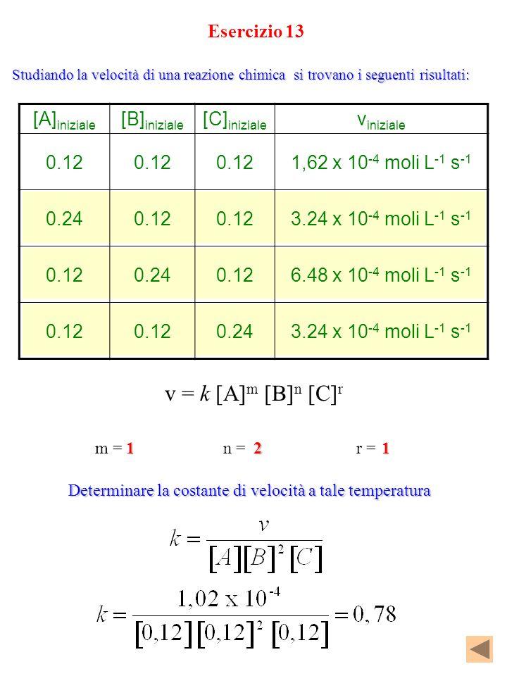 v = k [A]m [B]n [C]r Esercizio 13 [A]iniziale [B]iniziale [C]iniziale